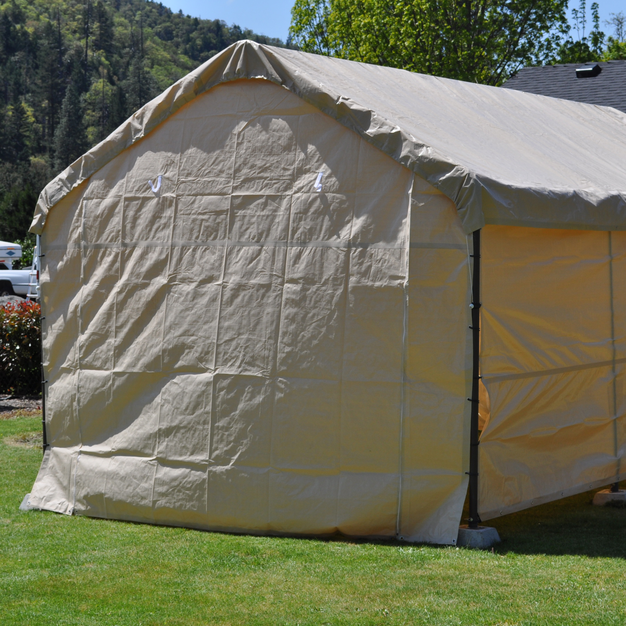 14 Foot Wide Replacement Carport Solid End Panel Tan