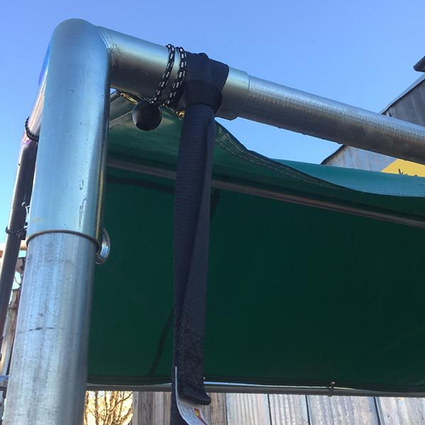 Caport/pop-up canopy ratchet loop strap on frame